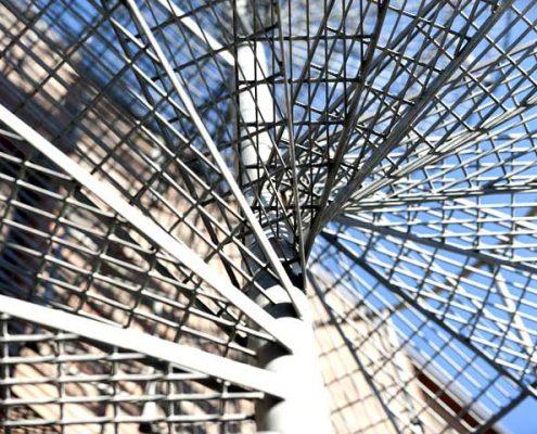 steel spiral stair access